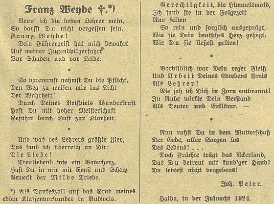Báseň k jeho umrtí otištěnou na stránkách Budweiser Zeitung napsal Johann Peter
