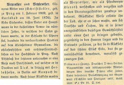 Začátek a závěr hesla o něm ve Wurzbachově Lexikonu