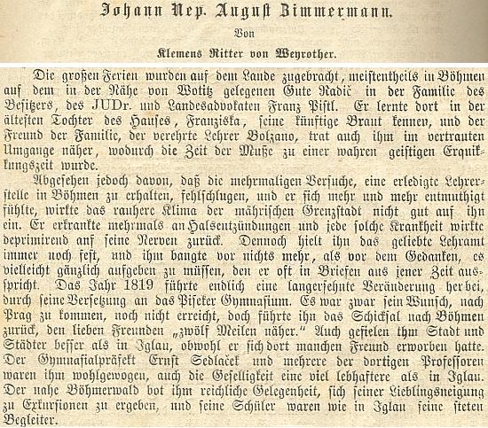 Dva odstavce z jeho obsáhlého nekrologu pedagoga a básníka Johanna Augusta Zimmermanna (1793-1869), kde se píše o pobytech zesnulého v Písku a na Šumavě i o jeho předchozím seznámení s Bernardem Bolzanem