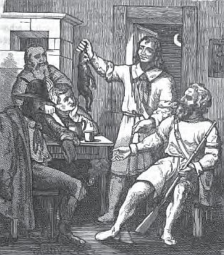 """Ilustrace k jedné ze šumavských pověstí v jeho knize """"Böhmische Sagen"""""""