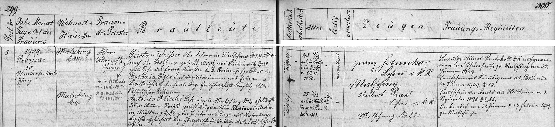 Záznam o jeho druhé svatbě v malšínské oddací matrice
