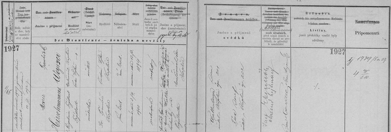 Záznam kaplické civilní matriky o svatbě Franze Weyszera s Marií Hirschmannovou