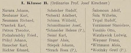 Franz Weyszer na seznamů studentů prvého ročníku budějovického státního gymnázia ve školním roce 1904/1905