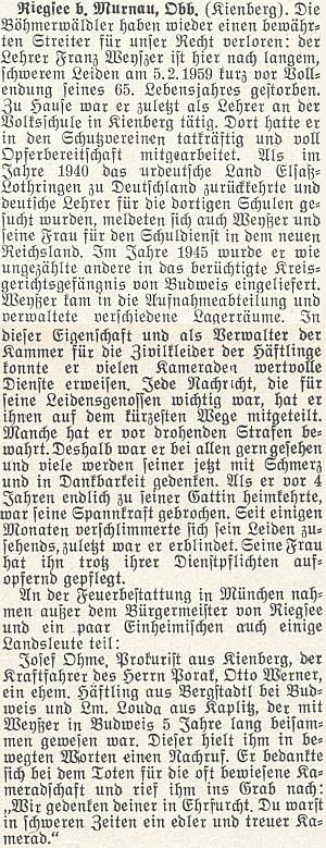 Nekrolog Franze Weyszera na stránkách krajanského časopisu