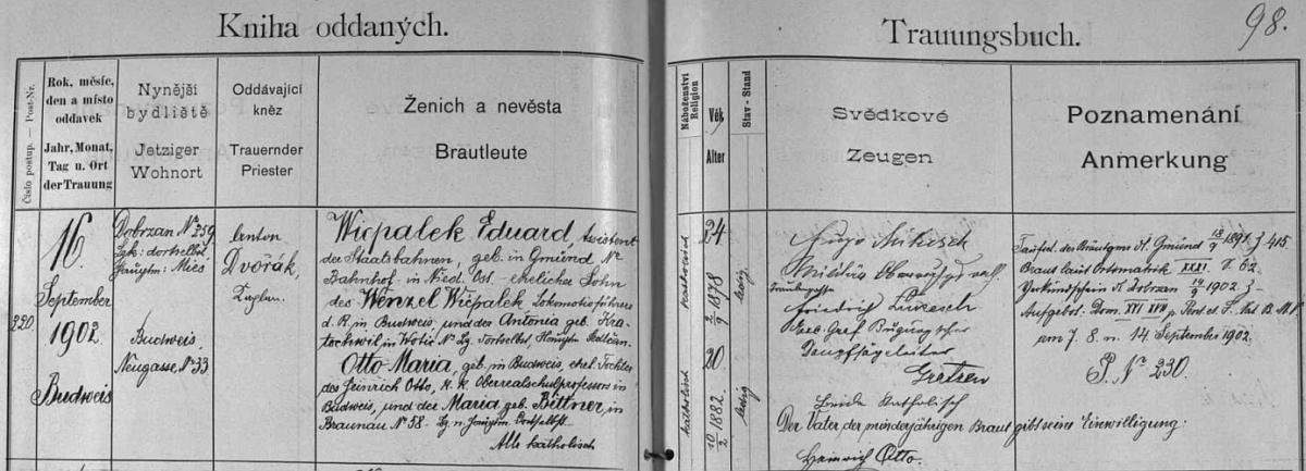 Záznam českobudějovické oddací matriky o svatbě jejích rodičů: otec Eduard Wicpalek, asistent státních drah, narozený v dolnorakouském Gmündu, byl synem strojvedoucího Wenzela Wicpaleka a Antonie, roz. Kratochvílové z Votic, matka Marie byla pak dcerou profesora budějovické vyšší reálky Heinricha Otto a jeho ženy Marie, roz. Bittnerové