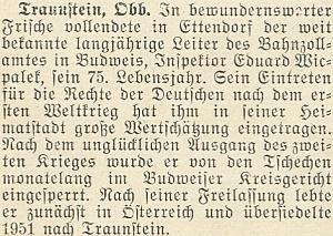 K 75. narozeninám jejího otce, dlouholetého vedoucího celního úřadu při českobudějovickém nádraží, vyšel roku 1953 v krajanském měsíčníku tento text, připomínající iotcovu několikaměsíční vazbu po skončení války