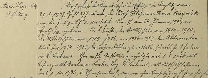 Teprve tento zápis ze školní kroniky zaniklé obce Rychnůvek vedl k opravě místa jejího narození na Furth im Walde namísto myslně uváděných Českých Budějovic