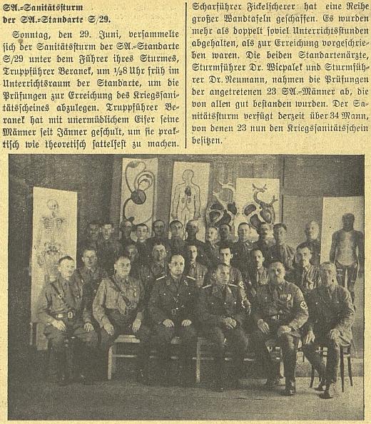 """Sanitní """"úderka"""" SA na snímku z června 1941, kde je zachycen i """"Sturmführer Dr. Wicpalek"""""""
