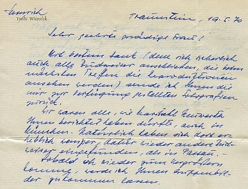 Úvod jeho vlastní rukou psaného dopisu zkvětna roku 1970