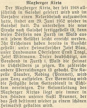 """V předvečer """"maxovského posvícení"""", které se od roku 1948 konalo každoročně ve vsi Gaishof hned za bavorskou hranicí proti vysídlenému Maxovu, měl v roce 1952, kdy se """"domovské slavnosti"""" účastnili i Josef Blau a Ernst Tragl, přednášku se světelnými obrazy"""