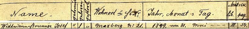 Pod jménem Widtmann-Brunner, Josef tu prezentuje index křestní matriky farní obce Maxov místo a datum jeho narození vezdejším stavení čp. 21