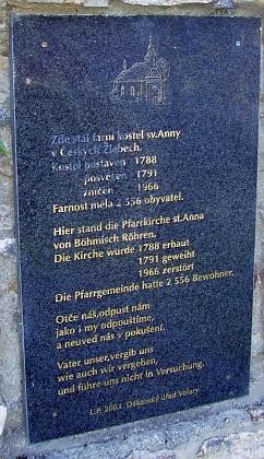 Tady stával kostel sv. Anny v Českých Žlebech (viz i Theodor Baier a Karl Swihota)