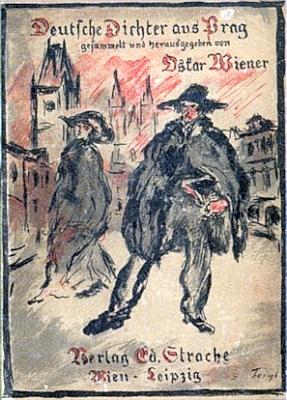 Obálka antologie (1919), kterou uspořádal - autorem podepsané kresby je rovněž Friedrich Feigl