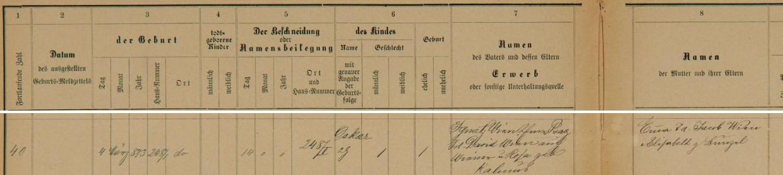 Podle tohoto záznamu pražské židovské matriky se tu narodil v domě čp. 248/I. dne 4. března roku 1873, deset dnů nato pak byl obřezán a dostal jméno Oskar - otec Ignatz, pražský obchodník, je tu uveden s příjmením Wien jako syn Davida Wiena, také Wienera, a Rosy, roz. Kalmusové, matka Emma byla pak dcerou Jacoba Wiena a Elisabeth, roz.Bunzelové