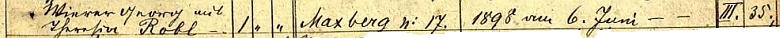 Záznam indexu k matrikám farnosti Maxov o svatbě jeho rodičů i s jejím datem