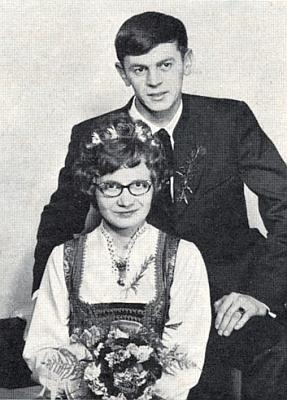 O své svatbě v lednu roku 1974