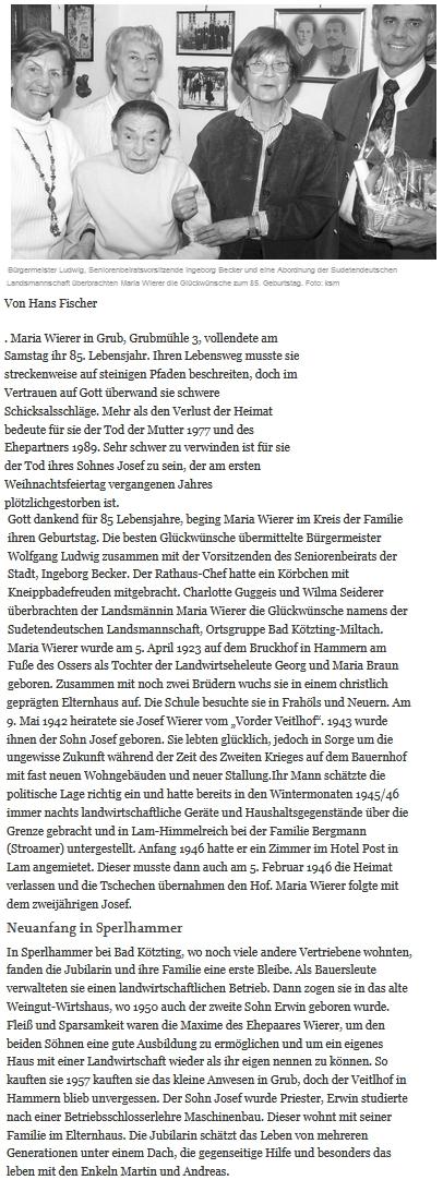 Článek bavorského deníku z roku 2008 k 85. narozeninám jeho matky