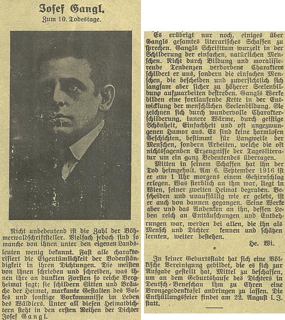 Úvod a závěr Wilbergova delšího článku k 10. výročí úmrtí Josefa Gangla vbudějovickém německém listě