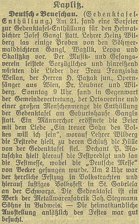 Zpráva o odhalení pamětní desky Josefu Ganglovi v Německém Benešově 22.srpna roku 1926, při kterém Wilberg pronesl slavnostní projev poté, co už den předtím recitoval na slavnostním večeru z děl Ganglových, Watzlikových, Leppových a Skalitzkyho