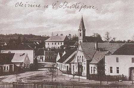 Olešnice s kostelem sv. Václava, kde byl pokřtěn