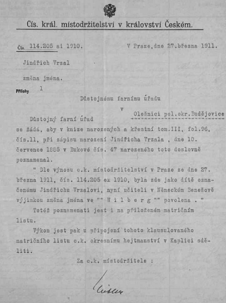 Křestní matrika farní obce Olešnice svědčí o jeho narození v Bukové i s místodržitelským dokladem o změně jména