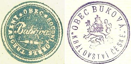 Úřední razítka rodné Bukové z let 1864 a 1908