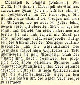 Zpráva o úmrtí jeho ženy Josefiny v prosinci 1957 v Obernzell