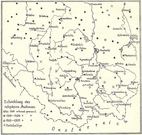 Mapka k jeho studii s vyznačením časového sledu církevní výstavby jižních Čech