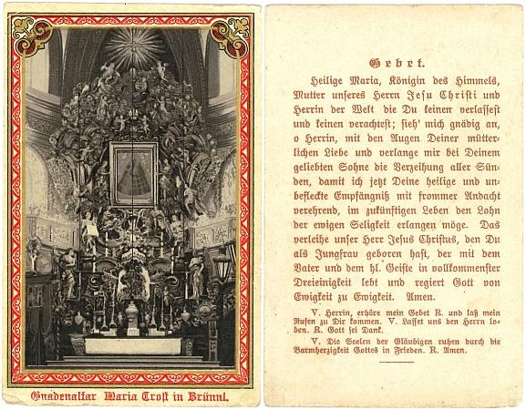Český a německý svatý obrázek z Dobré Vody u Nových Hradů s modlitbou k Panně Marii