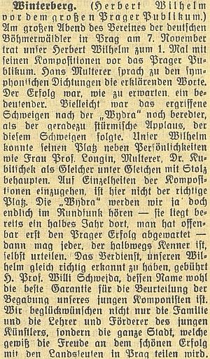 """Zpráva o jeho symfonické básni """"Wydra"""" v českobudějovickém německémlistu"""