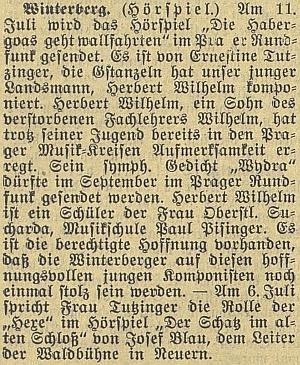 """Zkomponoval """"Gstanzeln"""" k rozhlasové hře Ernestine Tutzingerové (viziTheodor Müller)"""
