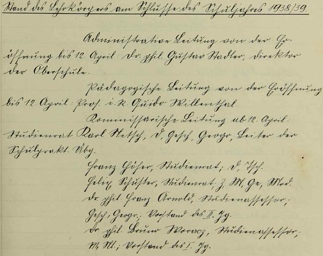 Stav pedagogického sboru německého učitelského ústavu v Českém Krumlově uvádí jeho pověření pedagogickým vedením nové instituce od jejího otevření roku 1938 do 12.dubna1939