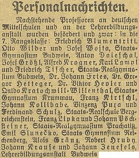 V tomto výčtu německých středoškolských profesorů, povýšených v roce 1921 do 7. platové skupiny, se dosud píše příjmením Kratochwill-Willenthal