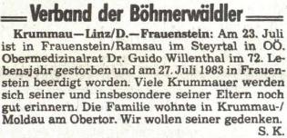 Zpráva o úmrtí jeho syna na stránkách rakouského krajanského listu