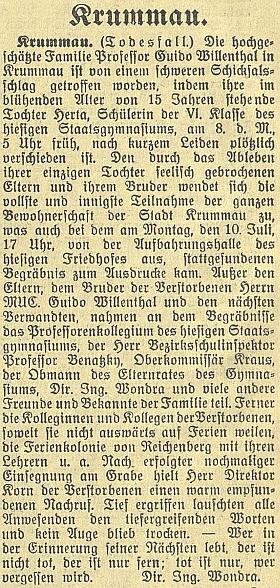 Zpráva o tragické smrti jeho dcery na stránkách českobudějovického německého listu, podepsaná Ing. Richardem Wondrou