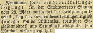 Budweiser Zeitung takto informoval o tom, že složil na zasedání českokrumlovského městského zastupitelstva svůj mandát