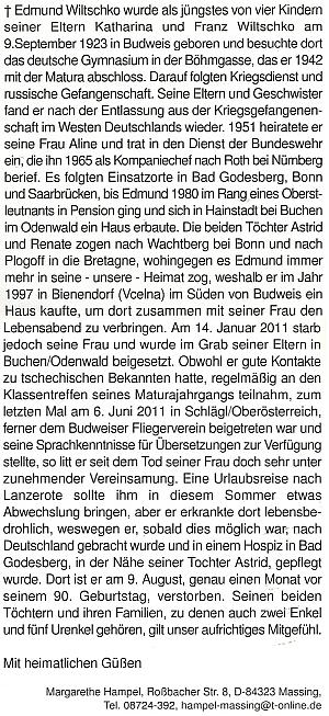 Margarethe Hampelová se s ním rozloučila na stránkách krajanského měsíčníku