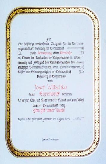 "Čestný diplom, který mu udělil ""Ortsausschuss Rosenberg im Böhmerwald"" vrakouském Freistadtu 10. června roku 1991"