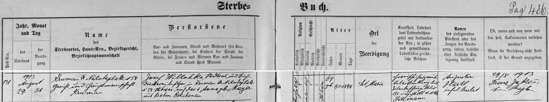 Záznam o jeho skonu v českokrumlovské knize zemřelých