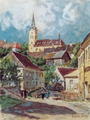 Hořice na obraze vídeňského malíře Adolfa Hofbauera (1889-1984), hořického rodáka (viz www stránky Adolf Hofbauer - Biographie und Werke)