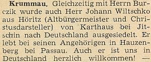 Drobná zpráva o jeho vysídlení z vězení ve Valdicích roku 1950 (Karthaus bei Jitschin) do Spolkové republiky, kde žil u svých příbuzných v Hauzenbergu a necelých 5 let nato v květnu 1955 zemřel