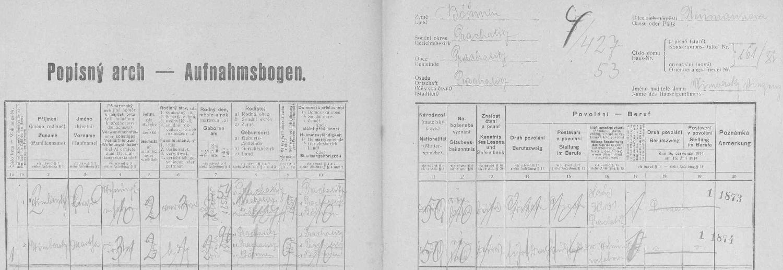 Na archu sčítání lidu z roku 1921 pro prachatický dům čp. 161 vidíme její jméno s matkou Theresií, zde už ovdovělou
