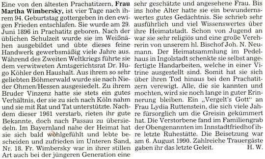 Autorkou nekrologu na stránkách krajanského měsíčníku, skrytou pod šifrou H.W., byla zřejmě HanniWimbersky