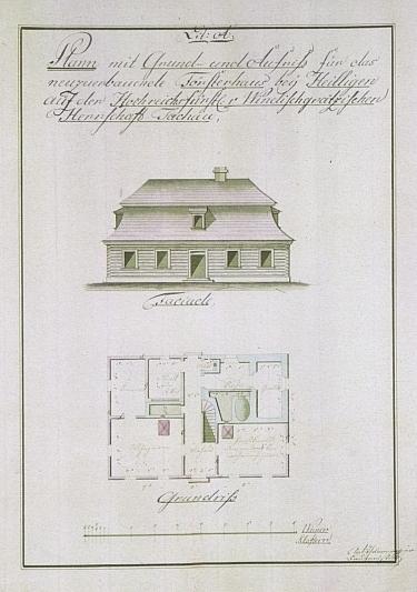Projekt panské myslivny u Světců na windischgrätzovském panství Tachov z počátku 19. století od stavitele Antona Thurmera
