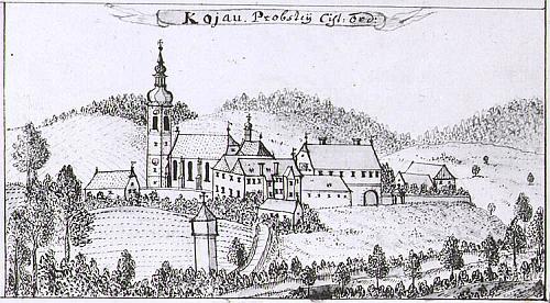 Kájov na vedutě Friedricha Bernarda Wernera z druhé poloviny 18.století...