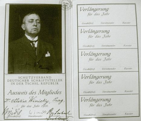 Legitimace člena Ochranného sdružení německých spisovatelů pro rok 1931 je opatřena jeho podobenkou apodpisy Johannese Urzidila a Ludwiga Windera dole