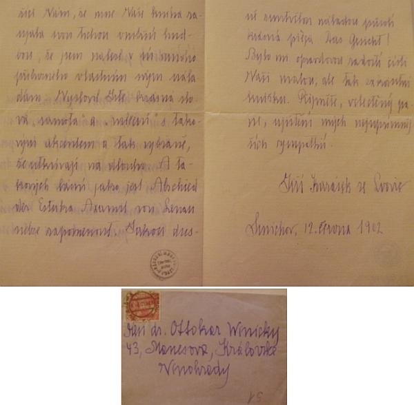 Z českého dopisu, který v létě 1912 Winickymu adresoval Jiří Karásek ze Lvovic