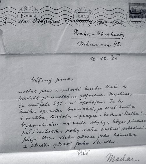 Pochvalný dopis Josefa Svatopluka Machara Winickymu z procince roku 1928
