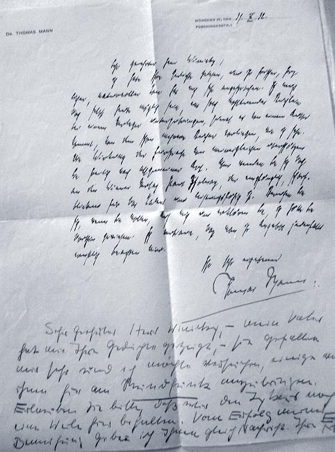 Dopis Thomase Manna Winickymu z října roku 1932 s přípisem Mannovy dcery Eriky
