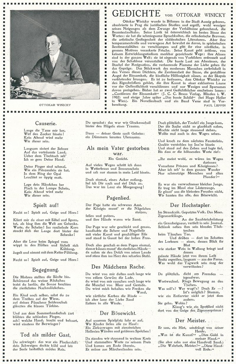 """Rakouský časopis """"pro cestování a sport"""" ze Štýrského Hradce mu v roce 1913 věnoval celo stránku s bohatými ukázkami jeho poezie (jedna z básní je věnována otcově památce) a s medailonem Paula Leppina"""